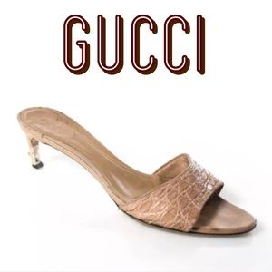 GUCCI MAUVE EMBOSSED LEATHER KITTEN HEEL SIZE 8.5B